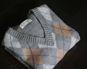 vintage argyle sweater 70s gino paoli