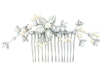Large spray trailing hair comb.  Crystal and pearl bridal hair piece.