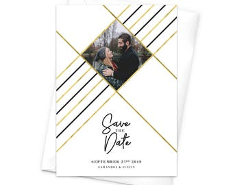 Save the Date Cards, Wedding Save the Date, Photo Save the Dates, Photo Cards, Photo Wedding Cards, Modern Wedding, Geometric Design