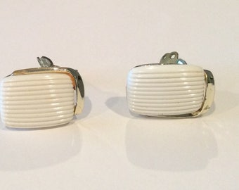 "Vintage ""Lisner "" White Lucite Clip Earrings, White Rectangle with Silvertone Accent, Signed Jewelry, Rare style, 1950s"