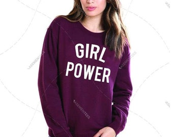"Unisex - Premium Retail Fit ""Girl Power"" Feminist, Woman's Rights! Femme! Crew-neck Fleece, Sweater LGBTQ (S,M, L, XL+)"