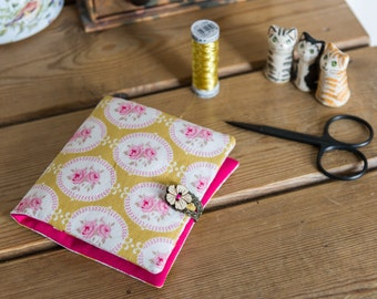 Sewing case or kit made with soft lightweight Tilda cotton print and linen cotton blend fabrics, in pink and yellow