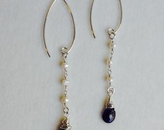 Iolite Briolette Earrings-Sterling Silver