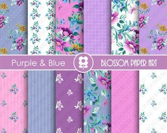 Scrapbooking Digital Paper, Violet Pink Floral Digital Paper Pack, Pink Violet Scrapbooking - INSTANT DOWNLOAD  - 1898