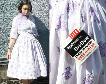 Vintage 1950's Life Magazine Dress // 50s Pink and Purple Floral Print Cotton Shirt Dress // NOS Wash n Wear Dan River Day Dress with Belt