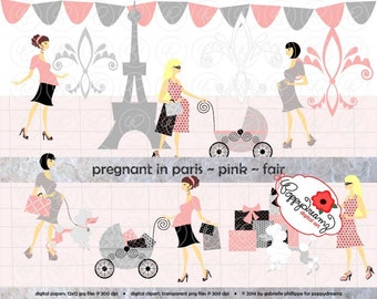 Pregnant In Paris Pink Fair Skin Tones: Clip Art Pack Card Making Digital Maternity Fashion French Poodle Baby Shower Pink & Black