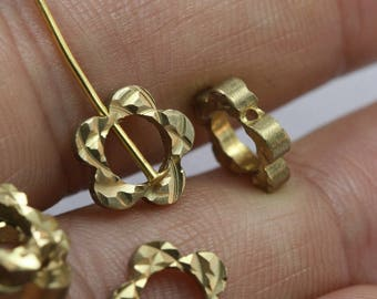 double side faceted pentagon 10 mm Raw Brass pentagon industrial brass with one hole 1437
