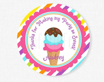 Ice Cream Party Favors, Ice Cream Favor Tags, Girl Birthday, Ice Cream Birthday, Rainbow Ice Cream Tag, Personalized