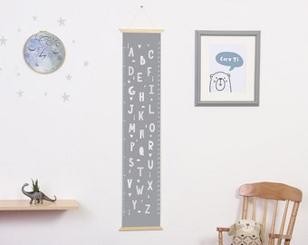 Alphabet height chart, alphabet print, kid's growth chart, nursery wall hanging, giclee print, centimeters and inches, Grey nursery decor.
