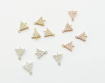 2 pcs, Cubic Triangle link, Tiny Triangle Charm, Cubic Zirconia