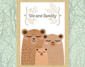 Poster cameretta, Illustrazione orsi, We are family, famiglia orsi, Poster animali, decorazione camera bambino, quadro orso, da stampare