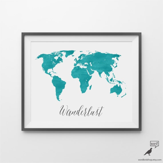 Blue watercolor large world map watercolor world map te gusta este artculo gumiabroncs Choice Image
