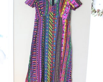 vintage maxi length rainbow ladybug dress *