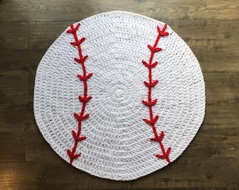 Baseball Rug Nursery Play Mat Handmade Crocheted Made in the USA