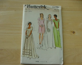 Vintage 1970s Butterick Pattern 3479, Junior Miss Bridal Gown, Size 11, Bust 33 1/2, Uncut, Wedding Dress, Evening Gown, Bridesmaid Dress