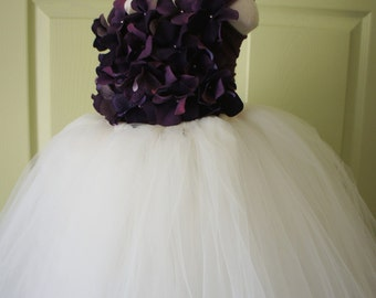 Flower Girl Dress, Tutu Dress, Photo Prop, Purple and Ivory, Flower Top, Tutu Dress
