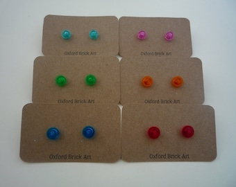 Turquoise, blue, pink orange, red, green, yellow or orange translucent round earrings from Lego® bricks, hypoallergenic surgical steel studs