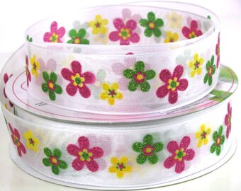 """1 1/2"""" Glitter Floral Ribbon - Flowers - Abstract Flowers - Wire Edged Ribbon"""