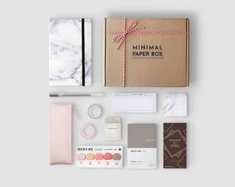 Marble Bullet Journal Starter Kit   Minimal Paper Box Vol. 2   Productivity Stationery Set for Minimalist   Dot Grid Journal