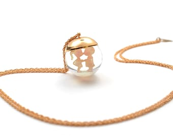 "Snowglobe gold filled long necklace / Sautoir / Handmade / Chic romantic ideal gift - ""Bulle Baiser"" by Lily Garden"