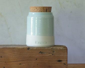 Pet urn, custom urn. pet urn or human ashes urn / cremains urn. custom stoneware pottery funerary urn. shown white, light blue
