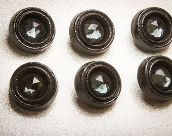 Black Jewel Vintage Button – Medium 30mm, Rare 70s Vintage Paris, Haute Couture Sewing