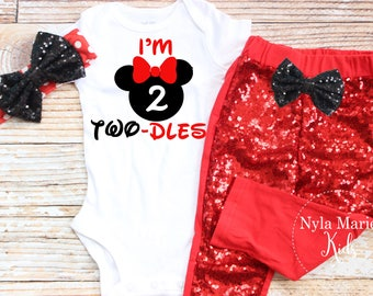 Twodles Birthday Outfit, Minnie Mouse Second Birthday Outfit, Two Year Old Birthday Outfit Girl, Red Birthday Outfit, Mouse Ears