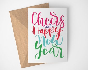 Happy New Year Card, Cheers Card, New Year Card, New Years Card, Non Traditional Holiday, Card New Year, 2018 New Years, Auld Lang Syne Card