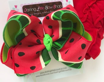 """Watermelon bow -- 6-7"""" Large hairbow with optional headband -- red and green watermelon-- Darling Little Bow Shop"""