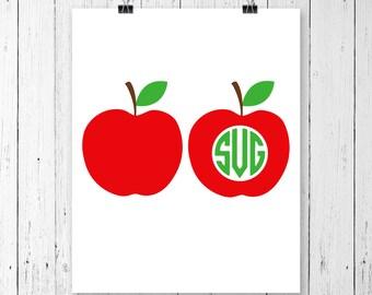 INSTANT DOWNLOAD! SVG, Apple Svg, Teacher Svg, Teacher Monogram Svg, School Svg, Split Apple Svg, Apple Cricut Cut File, Apple Vinyl