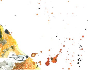 Fox watercolor print . Fox watercolor  Nursery
