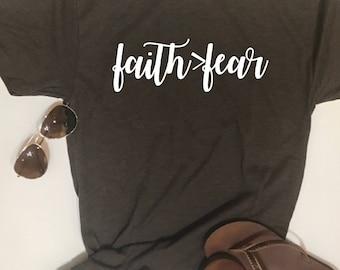 Custom Glitter Faith > Fear T Shirts | Faith is greater than Fear Shirts | Christian TShirts  |Christian Shirt for Women | Jesus Tee Shirt