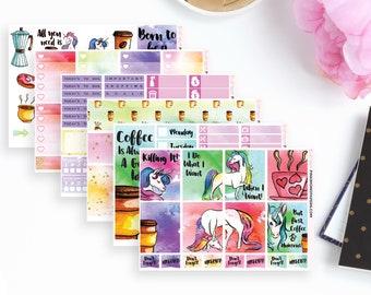 Unicorns & Coffee Weekly Planner Sticker Kit   118 Stickers