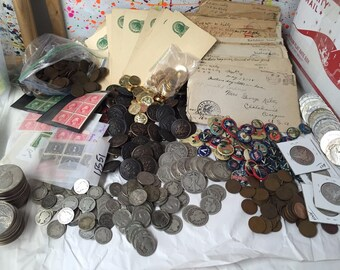 LOT(11 pc) WWI Coins+Militaria+Silver+Pins+Buttons+Letters/Cards+Stamps Plus Bonuses #%25