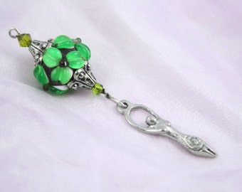 Blessingway bead - Emerald Flower Goddess - Mother Blessing bead, mama goddess, baby shower gift, placenta tree, pregnancy gift, pendant