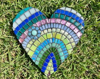 Mosaic Valentine's Day Heart - Mosaic Tiles in shades of blue, green and purple