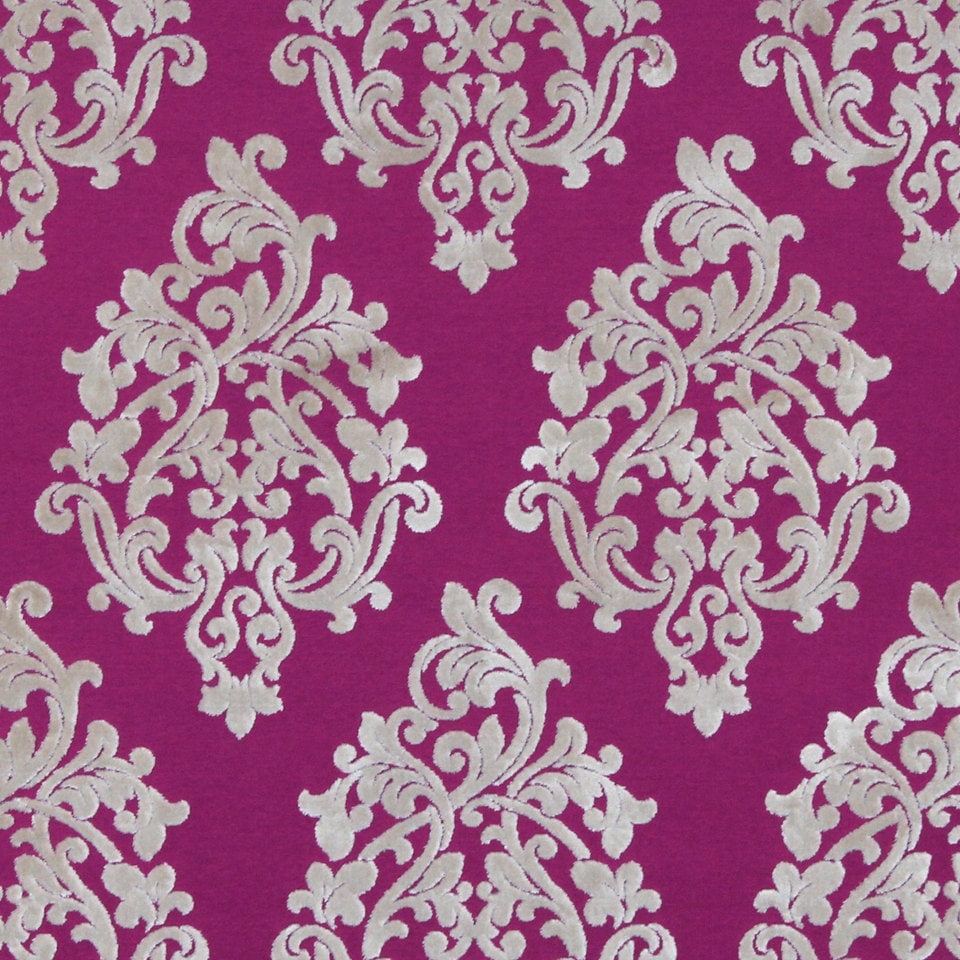 Fuchsia Velvet Damask Upholstery Fabric for Furniture