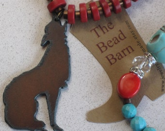 """NEW - Rusted Metal Wolf Howling Pendant Necklace, Turquoise & Skulls, Bamboo Coral, Clear Crystals, 20"""" Long"""