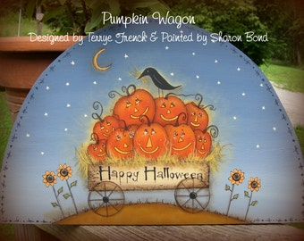 Pumpkin Wagon - Painted by Sharon Bond, Painting With Friends E Pattern