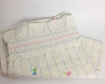 Vintage Pair Floral Pillowcases | Standard Martex | Vtg 1970s 70s |Blue Pink Purple Green | Smocked Ruffle Bed Bedding | Polyester Cotton