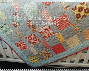Boho Charm Pack Quilt Pattern Tutorial with photos, pdf