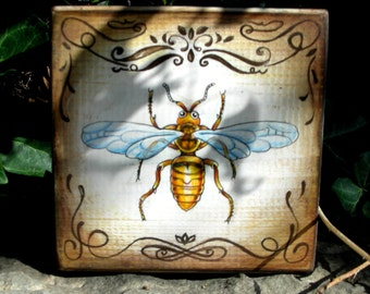 "4.5x4.5"" .Handpainted art block on wood - "" Wasp.""  - ORIGINAL Painting collectible romantic victorian"