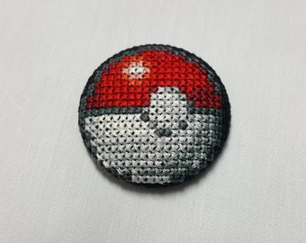 Handmade Pokeball Cross Stitch Button