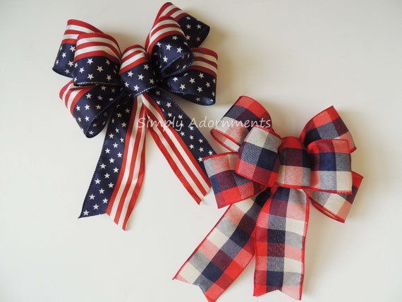 Americana wreath bow 4th of July Wreath Bow July 4th Party Decor Rustic Patriotic Wreath Bow Patriotic door hanger Bow Americana Gifts bow