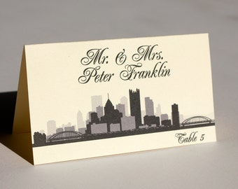 Pittsburgh Placeard City Skyline Wedding Handmade Custom Seating Name Place Card Escort Card Bridal Other Cities Available