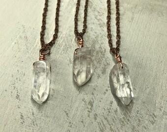 Necklace - Crystal quartz - pendant necklace - crystal necklace
