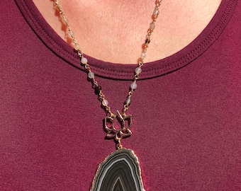 Black Agate pendant with Lotus on Moonstone Chain