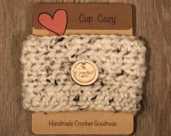 2 Crochet Coffee Cozies with Decorative Button FREE SHIPPING!