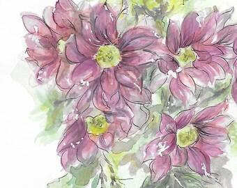Original Watercolor Purple Daisies bouquet A4 format