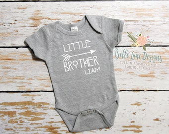 Little Brother Tribal Bodysuit w Name | Boys Little Brother Gray BodySuit | Little Brother Personalized | Little Brother Coming Home | 117